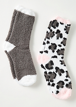 2-Pack Gray Snow Leopard Print Plush Cozy Sock Set