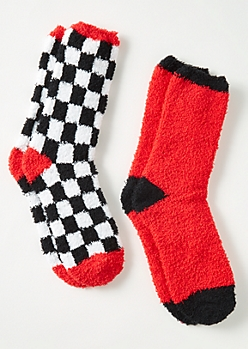 2-Pack Red Checkered Print Plush Cozy Sock Set