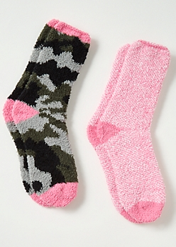 2-Pack Pink Camo Print Plush Cozy Sock Set