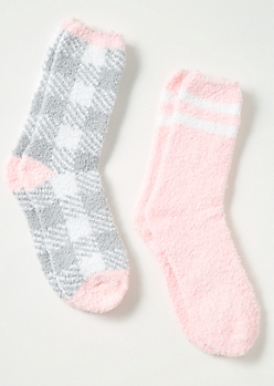 2-Pack Gray Plaid Print Striped Plush Cozy Sock Set
