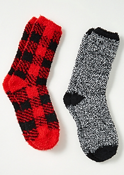 2-Pack Red Plaid Print Plush Cozy Sock Set