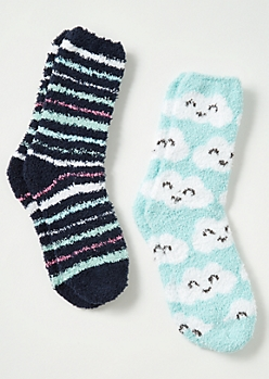 2-Pack Mint Cloud Striped Plush Cozy Sock Set