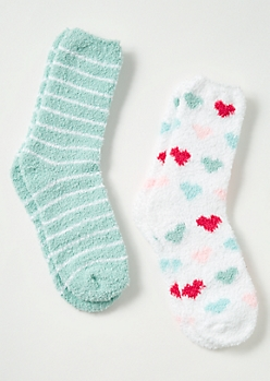 2-Pack Mint Striped Heart Print Plush Cozy Sock Set