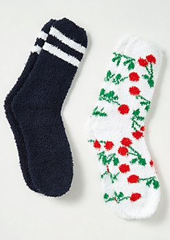 2-Pack Navy Cherry Print Plush Cozy Sock Set
