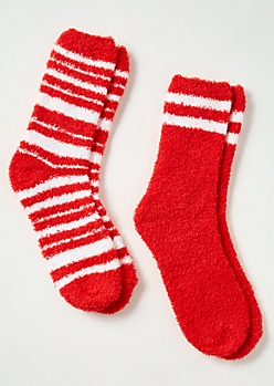 2-Pack Red Striped Plush Cozy Sock Set