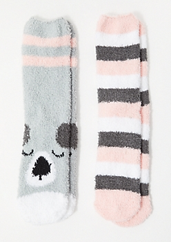 2-Pack Gray Striped Koala Plush Cozy Socks