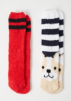 2-Pack Striped French Bulldog Plush Cozy Socks
