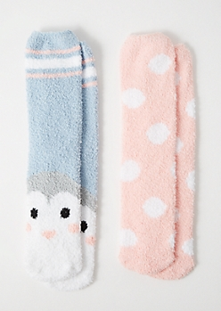 2-Pack Pastel Dot Print Penguin Plush Cozy Socks