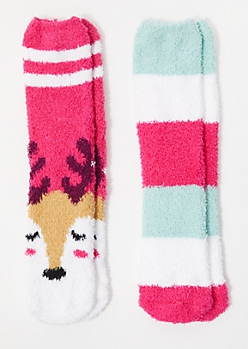 2-Pack Pink Striped Deer Plush Cozy Socks