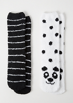 2-Pack Black Panda Print Plush Cozy Socks
