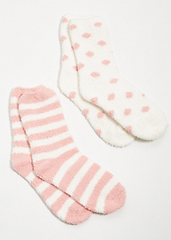 2-Pack Pink Striped Plush Slipper Socks