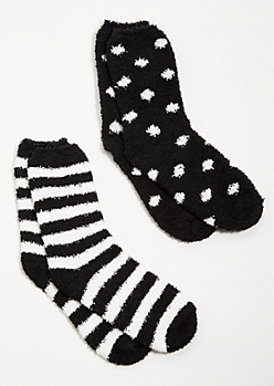 2-Pack Black Striped Plush Cozy Socks