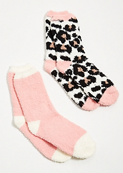 2-Pack Leopard Print Plush Cozy Socks