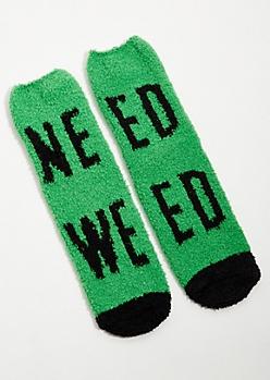 Green Need Weed Plush Slipper Socks