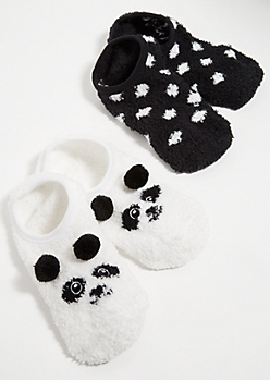2-Pack Fuzzy Panda Pom Pom Slipper Socks
