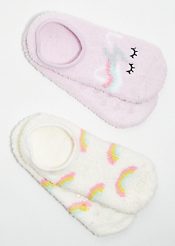 2-Pack Unicorn Rainbow Plush Cozy Slipper Socks