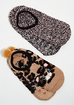 2-Pack Leopard Print Pom Pom Plush Cozy Slipper Socks