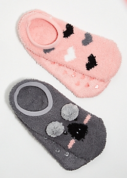 2-Pack Koala Heart Pom Pom Plush Cozy Slipper Socks