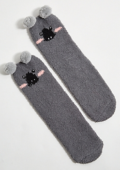 Gray Koala Pom Pom Plush Cozy Gripper Socks