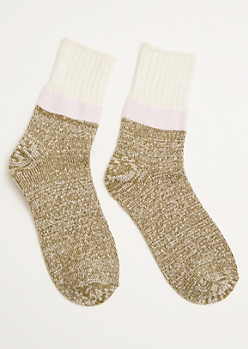 Olive Marled Colorblock Cozy Crew Socks