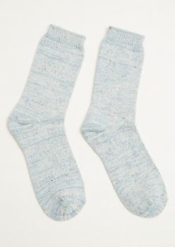 Blue Marled Confetti Cozy Crew Socks