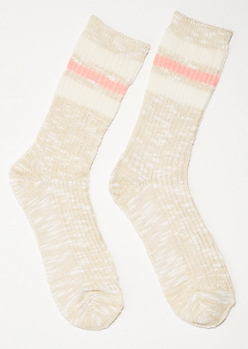 Tan Marled Varsity Striped Crew Socks