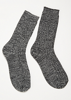 Black Marled Cozy Crew Socks