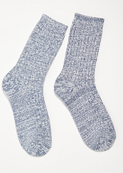 Blue Marled Cozy Crew Socks