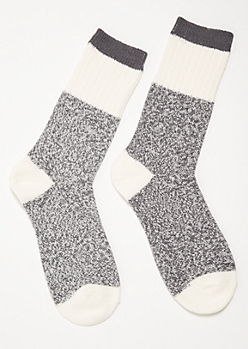 White Marled Varsity Striped Cozy Crew Socks