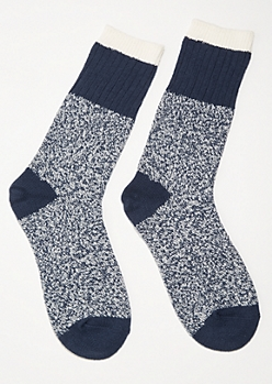 Blue Marled Varsity Striped Cozy Crew Socks