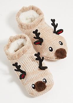 Tan Reindeer Sherpa Lined Slipper Socks
