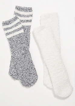 2-Pack Gray Varsity Striped Plush Crew Sock Set