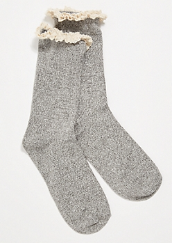 Marled Gray Crochet Ruffled Crew Socks