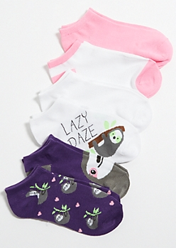 6-Pack Neon Sloth Ankle Sock Set
