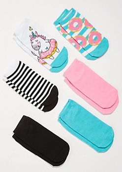 6-Pack Teal Unicorn Donut Striped Ankle Sock Set