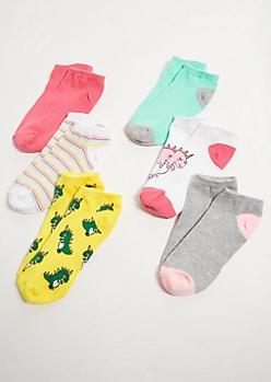 6-Pack Unicorn Dinosaur Ankle Sock Set
