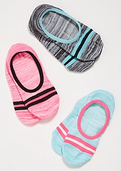 3-Pack Bright Varsity Striped Shoe Liner Sock Set