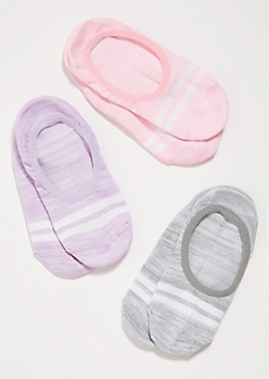 3-Pack Pastel Varsity Striped Shoe Liner Sock Set