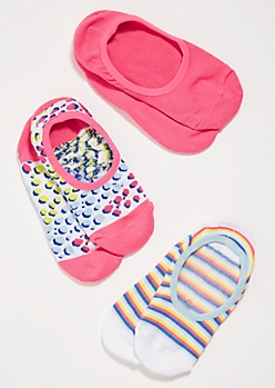 3-Pack Pink Spotted Striped Shoe Liner Sock Set
