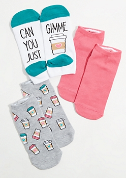 3-Pack Gimme Coffee Ankle Sock Set