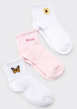 3-Pack Pink Embroidered Be Kind Crew Sock Set