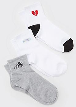 3-Pack White Embroidered Antisocial Crew Sock Set