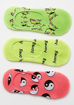 3-Pack Neon Honey Shoe Liner Sock Set