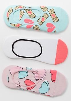 3-Pack Pink Fragile Heart Shoe Liner Sock Set
