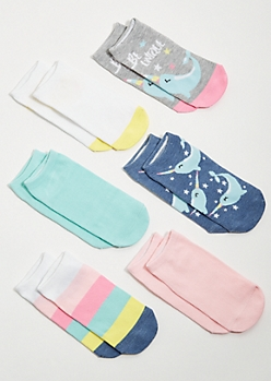 6-Pack Pastel Narwhal Colorblock Ankle Sock Set
