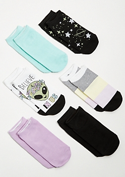 6-Pack Black Alien Star Ankle Sock Set
