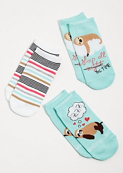 3-Pack Mint Striped Sloth Ankle Sock Set