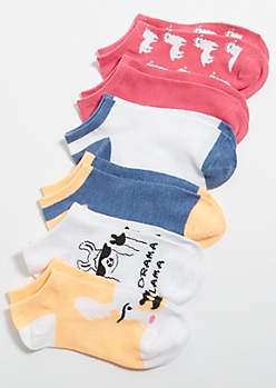 6-Pack Bright Llama Ankle Sock Set