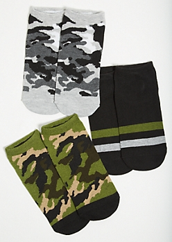 3-Pack Camo Print Ankle Sock Set