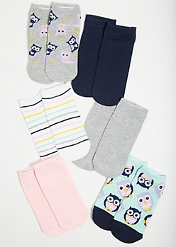6-Pack Pastel Owl Print Ankle Sock Set
